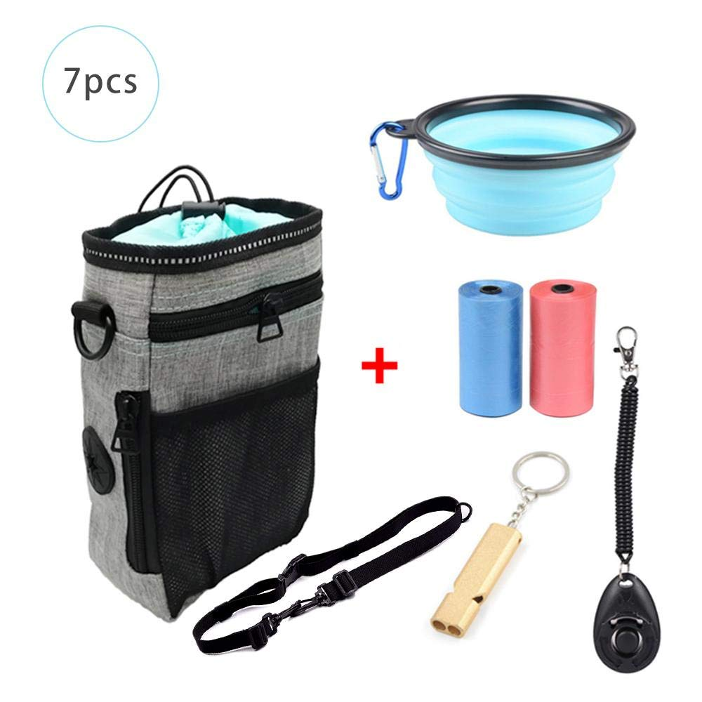 AUOKER Dog Treat Pouch, Portable Waterproof Dog Training Bag Snack Pouch, Durable Pet Dog Treat Container with Belt/Folding Bowl/Whistle/Training Clicker/Garbage Bag