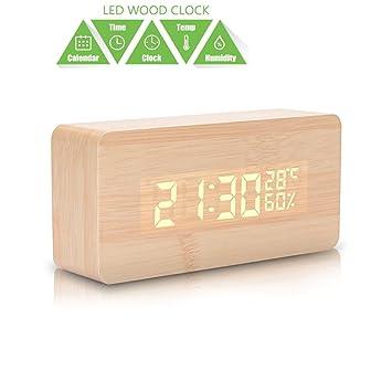 Reloj despertador digital LED de madera. Muestra la fecha, la hora, la humedad y la temperatura. Con alarma por sonido. Para niños, hogar, oficina, ...
