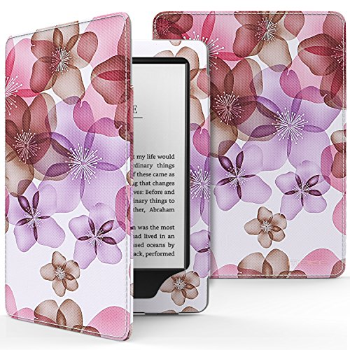 MoKo Hülle für Kindle 8 Generation - Premium PU Leder Tasche Schutzhülle Schale Smart Case mit Auto Sleep / Wake für der Neue Amazon Kindle (8. Generation - 2016 Modell) 6 Zoll eReader, Blumen Violett