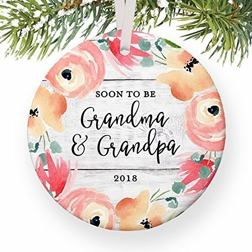 Soon To Be Grandma & Grandpa Christmas Ornament, You're Going to Be New Grandparents in 2018 1st Pregnancy Reveal Xmas New Parents Ceramic 3