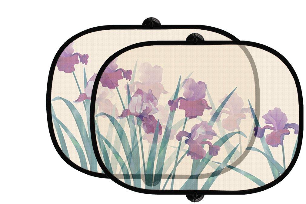 美しいアイリス花2pcs折りたたみ式自動ウィンドウサンシェードメッシュ B07596YP4F