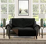 Blissful Living Reversible Non-Slip Couch Cover - Perfect Slipcover to Protect your Furniture from Pets and Kids, Elastic Strap to secure Fit on Couches, Loveseats, & Chairs (Black/Brown, Loveseat)