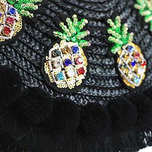 sac coursier les la enveloppe paille Noir embrayage crossbody l'épaule de plage main sac à pom sac femmes sac pom tassel à sac de sac qxOIr7Hwq