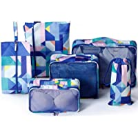 6 Piece Set Packing Cubes - Travel Organizers with Laundry Bag and Shoe Bag