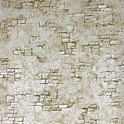Slavyanski vinyl wallpaper brown coverings textured vintage retro faux realistic stone brick with plaster pattern double rolls wallcovering wall paper decal decor textures 3D washable modern kitchen