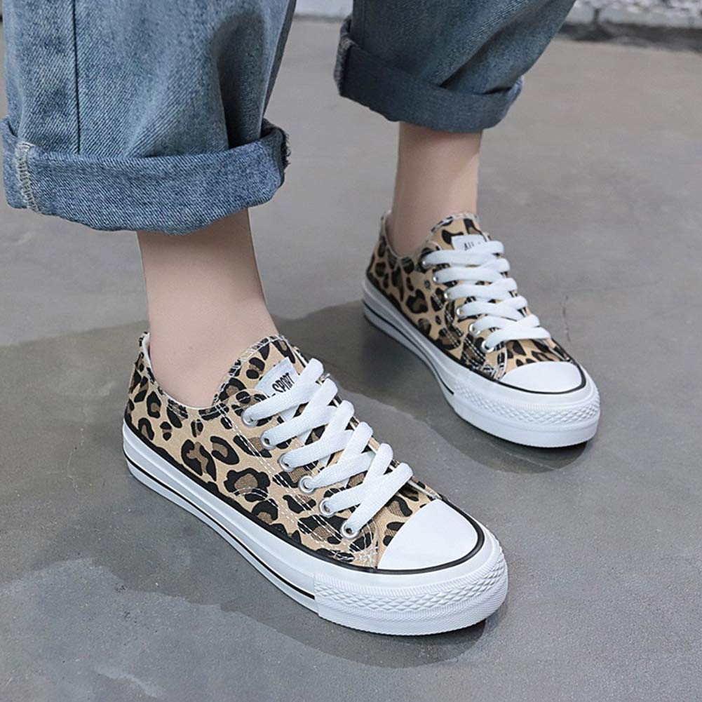 Leopard Canvas Shoes Low Top Women Lightweight Flat Espadrilles Lace Up Casual Flats Fashion Sneakers