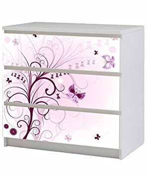 stunning motif floral meubles sticker pour ikea malm poitrine de tiroirs x cm violet with. Black Bedroom Furniture Sets. Home Design Ideas