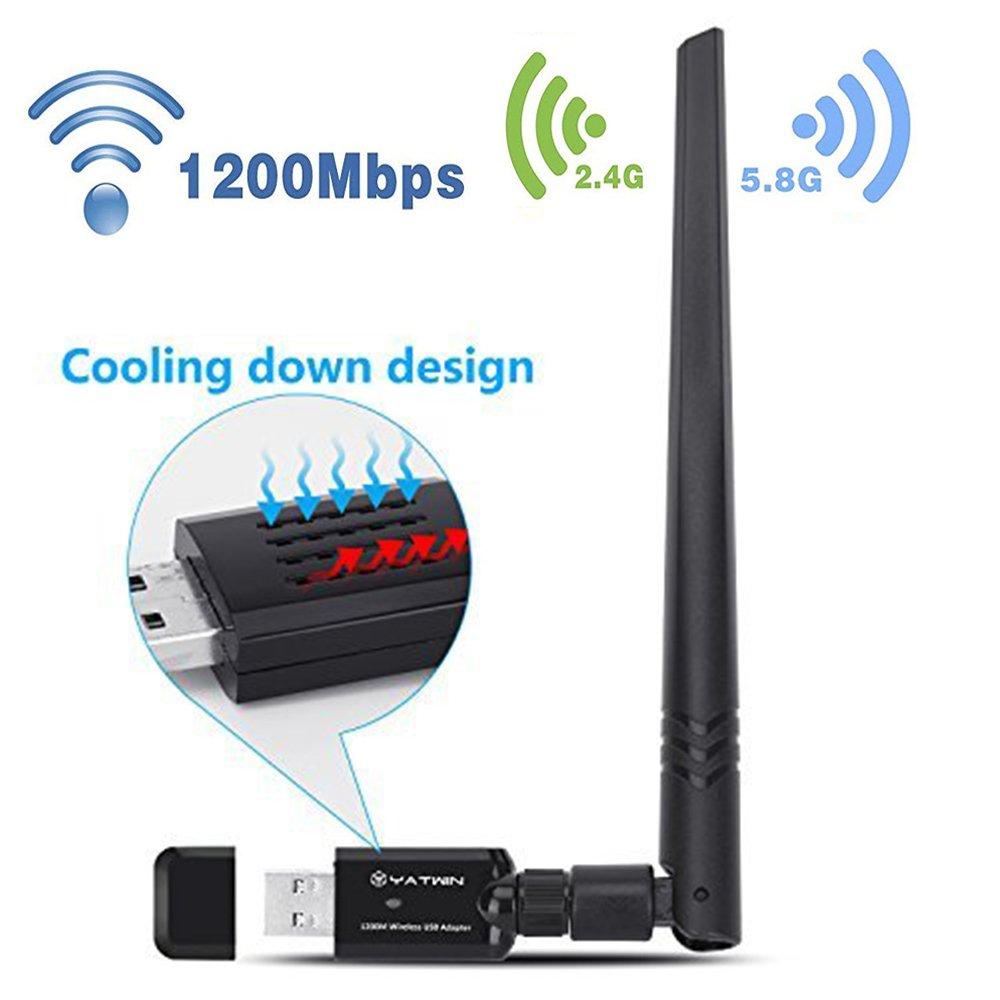YATWIN Adaptateur USB WiFi Dongle 1200Mbps, Clé WiFi USB 802.11ac Dual Band 5G/867Mbps + 2.4G/ 300Mbps Adaptateur Réseau sans Fil Antenne 5dBi Win Vista, Win 7, Win 8.1, Win 10, Mac OS X 10.9-10.13 YT1200-1833