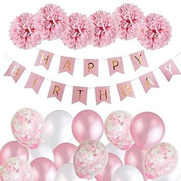 Mmtx Decoration Anniversaire Fille Deco Anniversaire Bannière Guirlande Ballons Avec Anniversaire Décoration Papier De Soie Pompons Rose Et Rose
