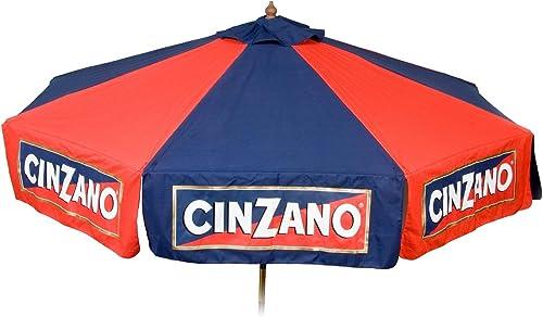 Heininger 9 foot Wood Cinzano Vinyl Umbrella