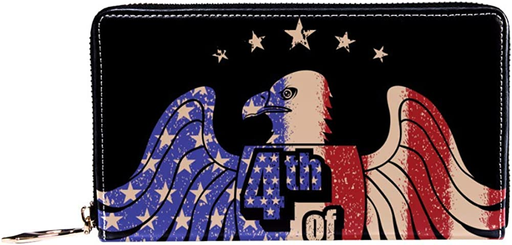 Womens Zip Around Wallet and Phone Clutch,Travel Purse Leather Clutch Bag Card Holder Organizer Wristlets Wallets,Eagle With Usa Flag Pattern