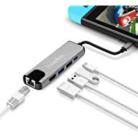 Hub USB C, innoAura 5 en 1 Adaptador USB Tipo C de 4K a HDMI, Puerto Ethernet, Toma de Poder USB Del Tipo C, 2 Puertos USB 3.0 para Nintendo Switch, Macbook Pro y Otras Tipo C Laptops