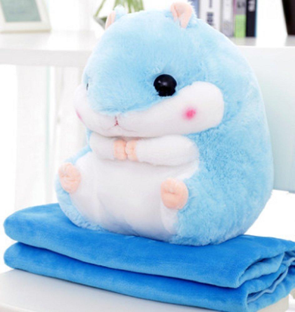YunNasi 2 in 1 Schöner und Niedlich Plüschtier Hamster kissen mit Fleece Blanket Super Witziges und Süßes Geschenk für Kinder und Freundin 50cmX30cm (Blau)