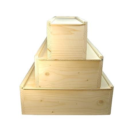 Faba Home - Estuche de regalo de madera para botellas de vino, con tapa deslizante, caja de madera sin tratar, madera, naturaleza, 3 Flaschen: Amazon.es: ...