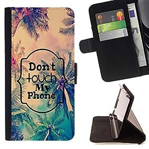 Dragon Case- Caja de la carpeta del caso en folio de cuero del tir¨®n de la cubierta protectora Shell FOR Samsung Galaxy A3 a3000- Don't Touch My Phone