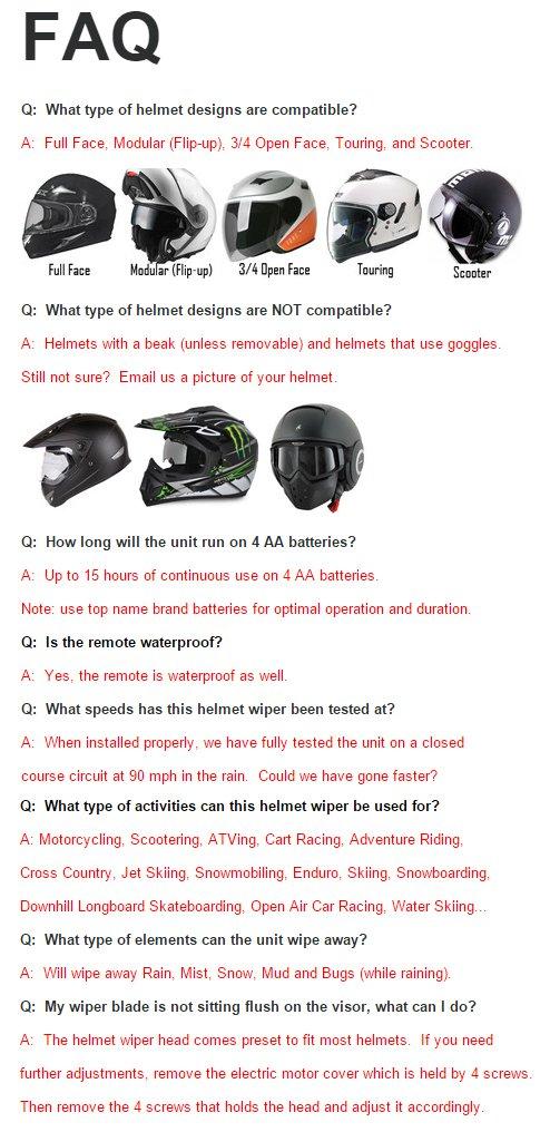 b890b4c0 Amazon.com: UVIA Helmet Visor Shield Wiper for Motorcyle ATV Scooter  Supermotard Ski Snowboard Jet Ski etc... (will fit most Arai, Shoei, AGV,  Suomy, Z1R, ...
