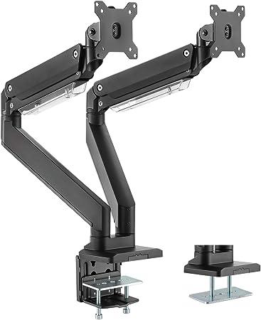 13-27 Zoll H/öhenverstellbar Bildschirmhalterung 2 Montageoptionen EXPERTAN Vesa75//100 Stabile 90/°neigbar//360/°schwenkbar 8kg pro Arm Stahl Premium Monitorhalterung 2 Monitore