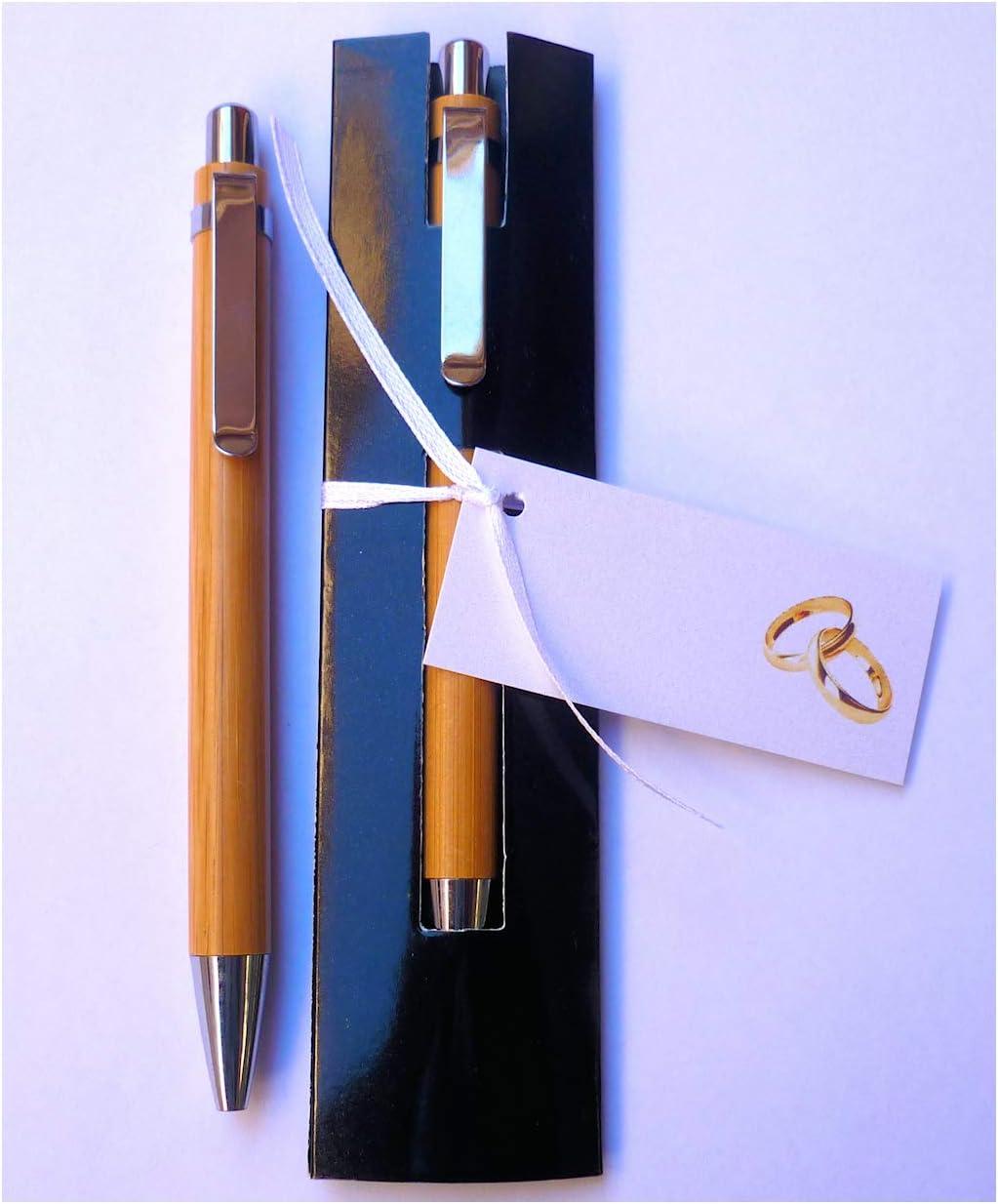Bolígrafos para Regalar como Detalles y Recuerdos de Boda - Madera de Bambú con Funda - Y lo Más Alucinante: ¡¡Escriben Super Bien!! - (20 unidades)