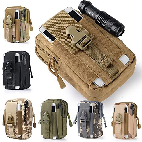 PerfectMall Universal Outdoor Tactical Holster Military Molle Hip Waist Belt Bag Wallet Pouch Purse Phone Case for iPhone 7 Samsung Galaxy S7 Note5 LG G5 iPhone 6 6s (Army Green)