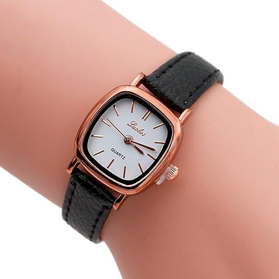 Reloj, poto 2017 nueva moda mujer cuero banda analógico cuarzo muñeca reloj Casual: Amazon.es: Relojes