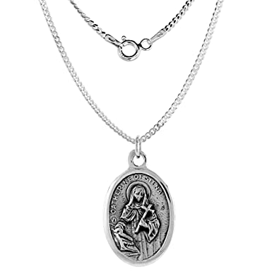 Amazon Sterling Silver St Catherine Of Siena Medal Necklace