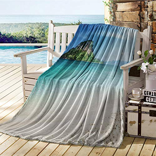 Miles Ralph Beach, Throw Blanket Lightweight, Grand Cliff in The Crystal Sea Water Tropic Island Scenery with Summer Beach, Lightweight Blanket Extra Big 60x36 Inch Blue Cream Green