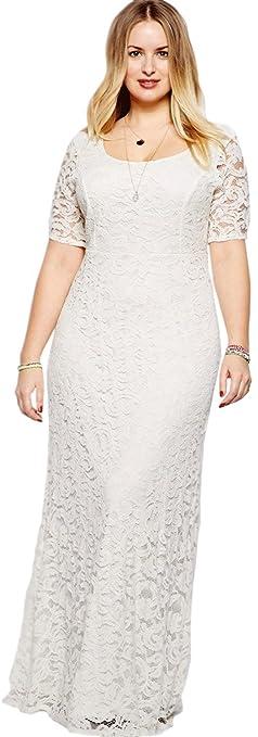 83726c0883 Amazon.com  Zumeet Women Back Zip Fastening Long Lace Dress Plus Size Dress  White  Clothing