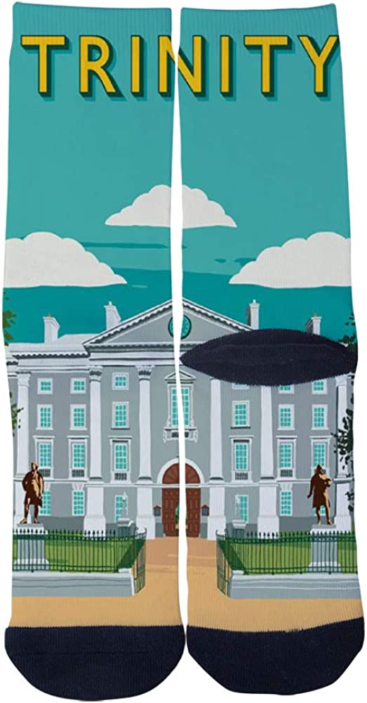 Trinity College Dublin Vintage Style Travel Poster Socks Mens Womens Casual Socks Custom Creative Crew Socks