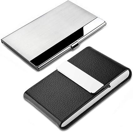 SENHAI - Estuche para tarjetas de visita profesional, 2 unidades, acero inoxidable y piel sintética, con cierre magnético, para tarjetas de crédito, para hombres y mujeres: Amazon.es: Oficina y papelería