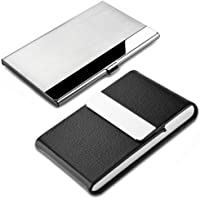 2 Pcs Professional Business Card Case, SENHAI Stainless Steel & PU Leather Business Card Holder with Magnetic Shut…