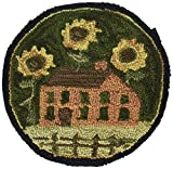 Park Designs House and Sunflowers Hooked Chair Pad