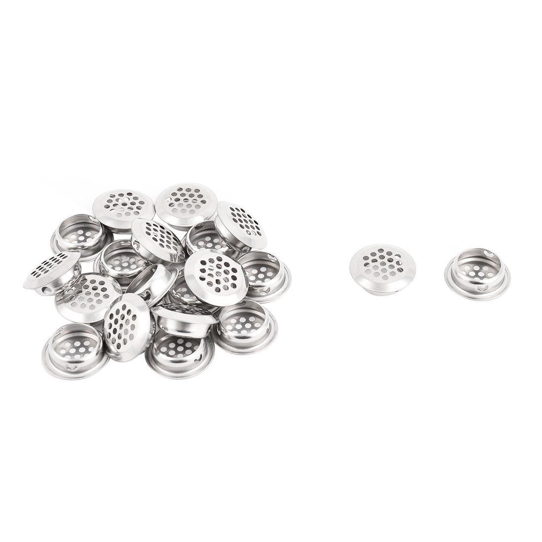 uxcell Stainless Steel Kitchen Bathroom Round Mesh Hole Sink Strainer Filter 20pcs Silver Tone