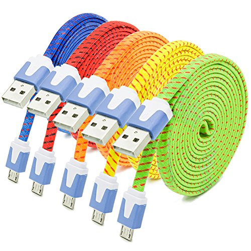 Besgoods 5 Pack Premium Nylon Braided 6ft Micro USB Cable Hi