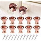 Westmell Crystal Cabinet Dresser Drawer Knobs 30mm, Rose Gold Diamond Shape Glass Knob and Pull Handle for Kitchen…