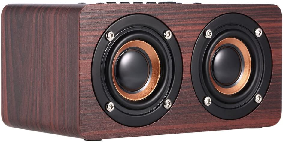 Docooler W5Grano de Madera Rojo Altavoz Bluetooth Bluetooth 4.2Dual louderspeakers Super Bass Subwoofer Manos Libres con Micro 3,5mm AUX-IN Tarjeta TF
