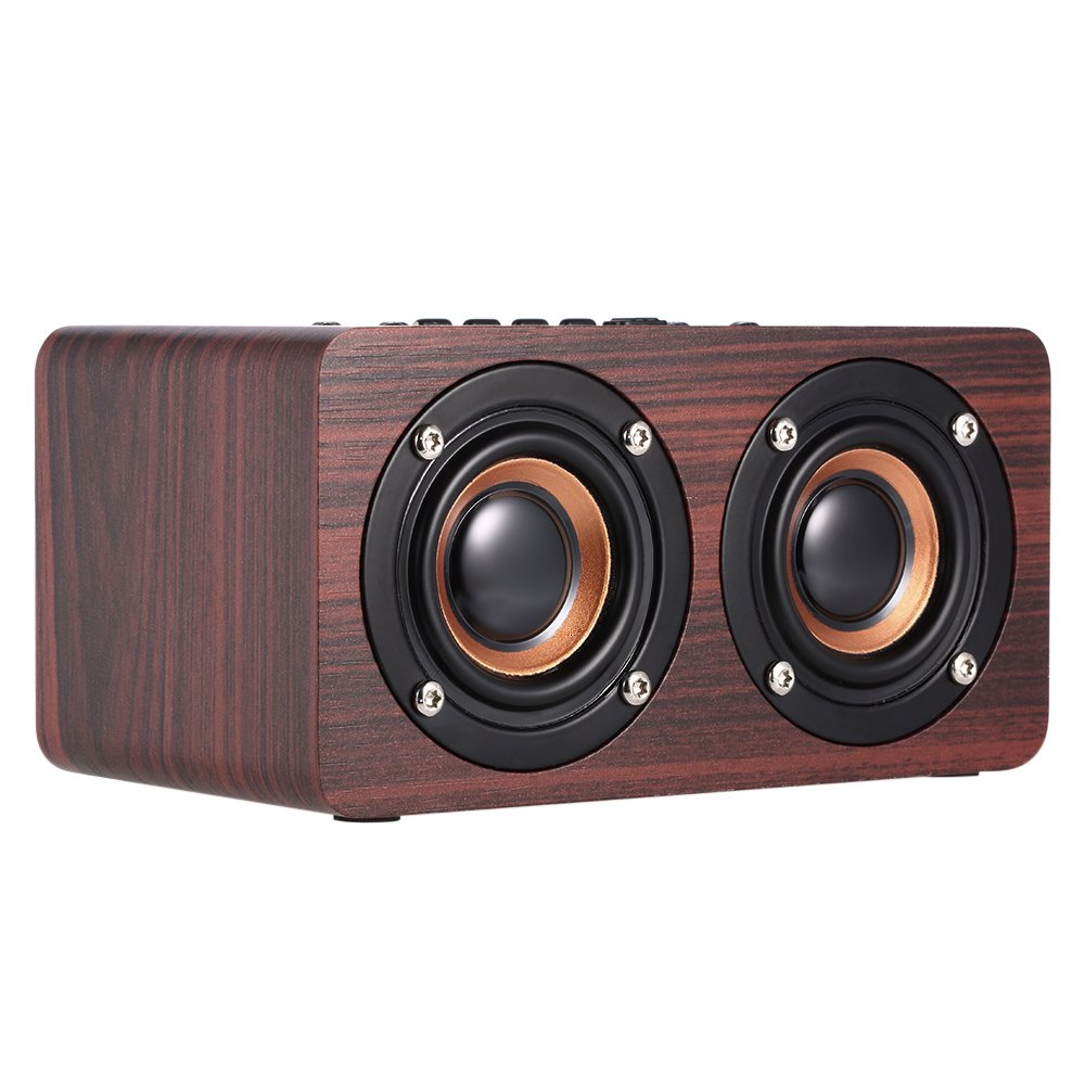 Docooler W5 Red Wood Grain Bluetooth Speaker Bluetooth 4.2 Dual Louderspeakers Super Bass Subwoofer Hands-free with Mic 3.5mm AUX-IN TF Card MYZ9180449748514LQ
