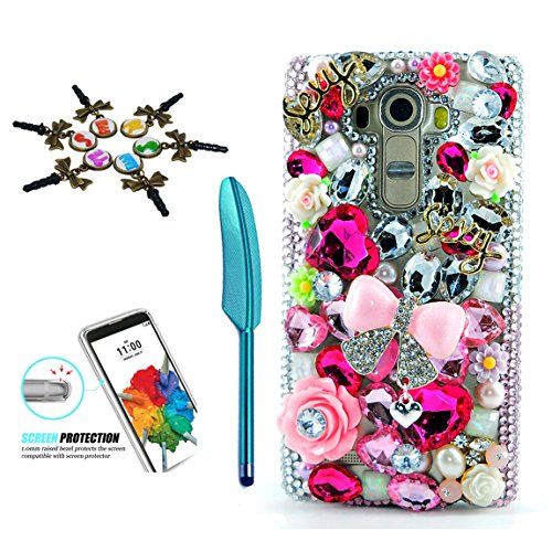 STENES LG Stylo 3 Case - 3D Handmade Crystal Sparkle Diamond Rhinestone Hybrid Cover for LG Stylo 3/Stylo 3 Plus/LG LS777 with Retro Anti Dust Plug & Stylus Pen - Princess Pink Bowknot Flowers/Pink