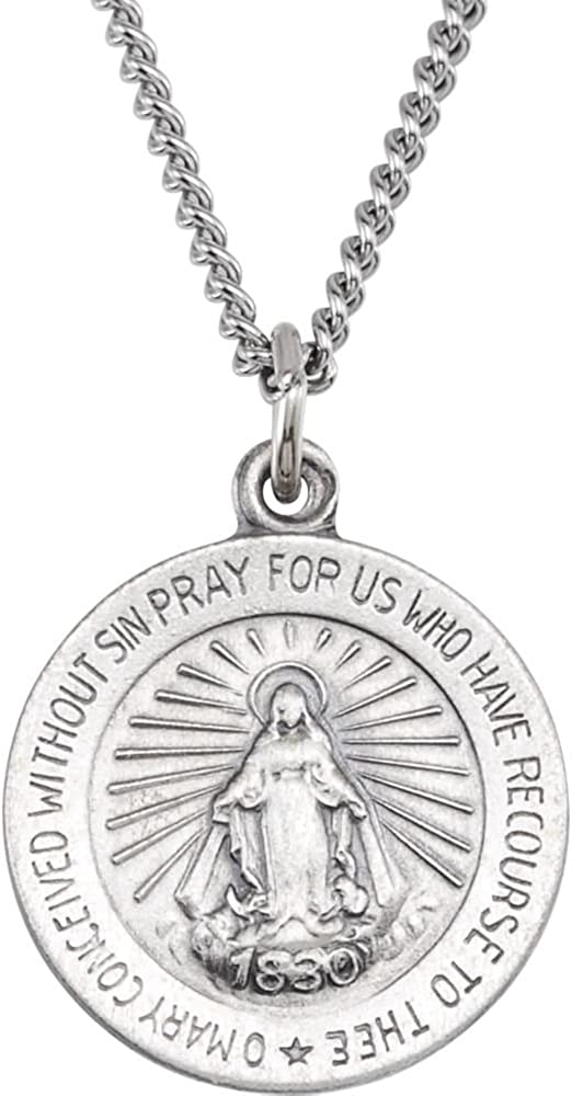 18.00 mm Miraculous Medal with 18 inch Chain in Sterling Silver