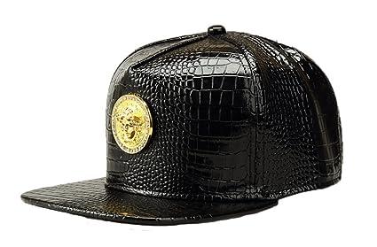 NUKIC Alligator grain Diamond Medusa 3D Metal Logo Serpentine Hat Baseball  Cap Black  27c6e6e10e20