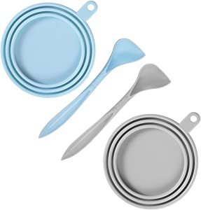 SLSON 2 Pack Pet Food Can Cover Universal Silicone Cat Dog Food Can Lids 1 Fit 3 Standard Size Can Tops with 2 Spoons,Light Blue and Grey