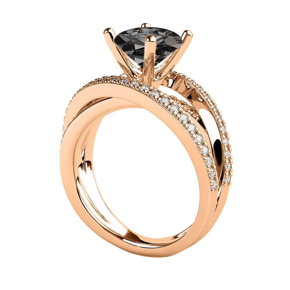 14K Rose Gold 2.50 CTW Black Diamond Ring with Diamonds Multi Band Unique Vintage