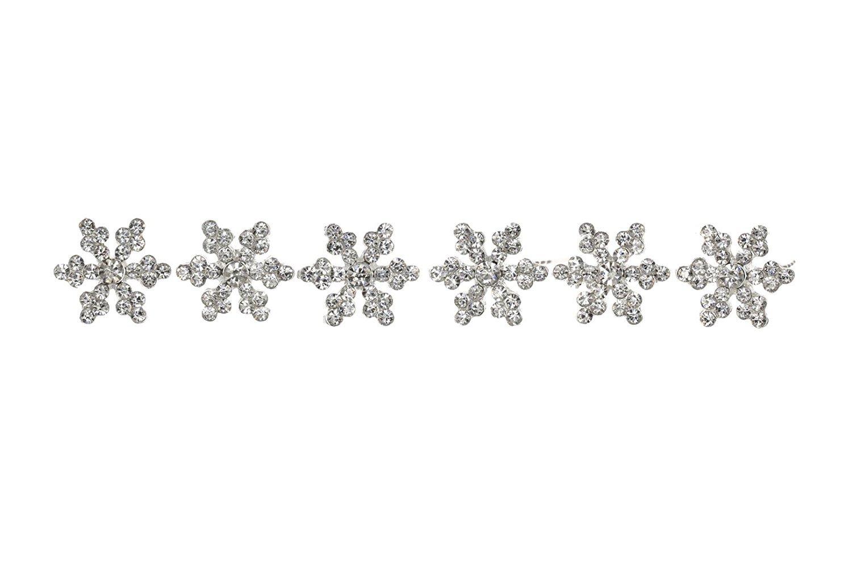 Set of 6 Rhinestone Crystal Snowflake Bridal Weddng Hair Pins H114 SAMKY-H114