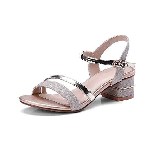 d77ebc4ffa2 Brooklyn Walk New Women Synthetic Ankle Strap Square Med Heels Solid Shoes  Woman Casual Summer Sandals Big Size 33-43  Buy Online at Low Prices in  India ...