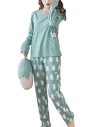 Amazon com: Big Girl's Cute Cat Long Sleeve Top with Pants