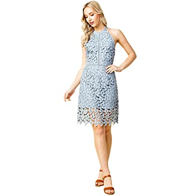 d709abe2487f Amazon.com  Blushing Heart Lace High Neck Semi Formal Mini Dress in ...