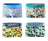 JINSHI 4 Pack Men Bamboo Underpants Premium Lightweight Trunks Microfiber Underwear Size S