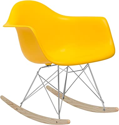 POLY & BARK EM-121-YEL-AMA Rocker Lounge Chair, Yellow