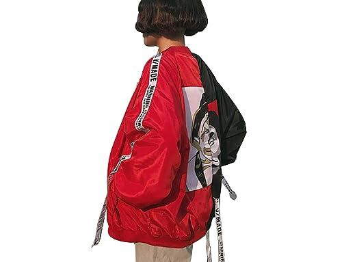 50646198c MASCHERANO Women Print Bomber Jacket Loosen Harajuku Streetwear BF Oversize  Bomber Jacket Coat