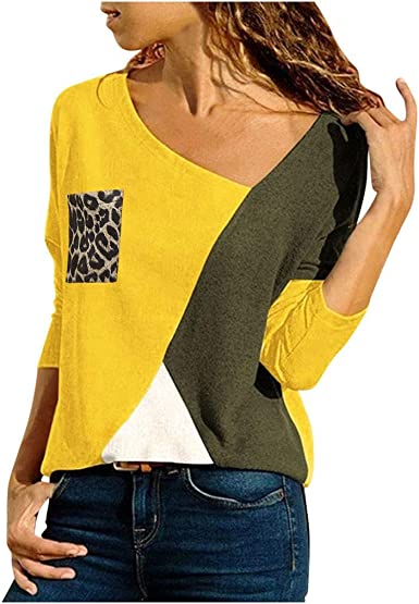 Bluas de Mujer Color Block Ajustado Manga Larga Camiseta Moda Patchwork Casual para Mujer Tallas Grandes Otoño e Invierno Suelto Blusa Tops Fiesta T-Shirt: Amazon.es: Ropa y accesorios