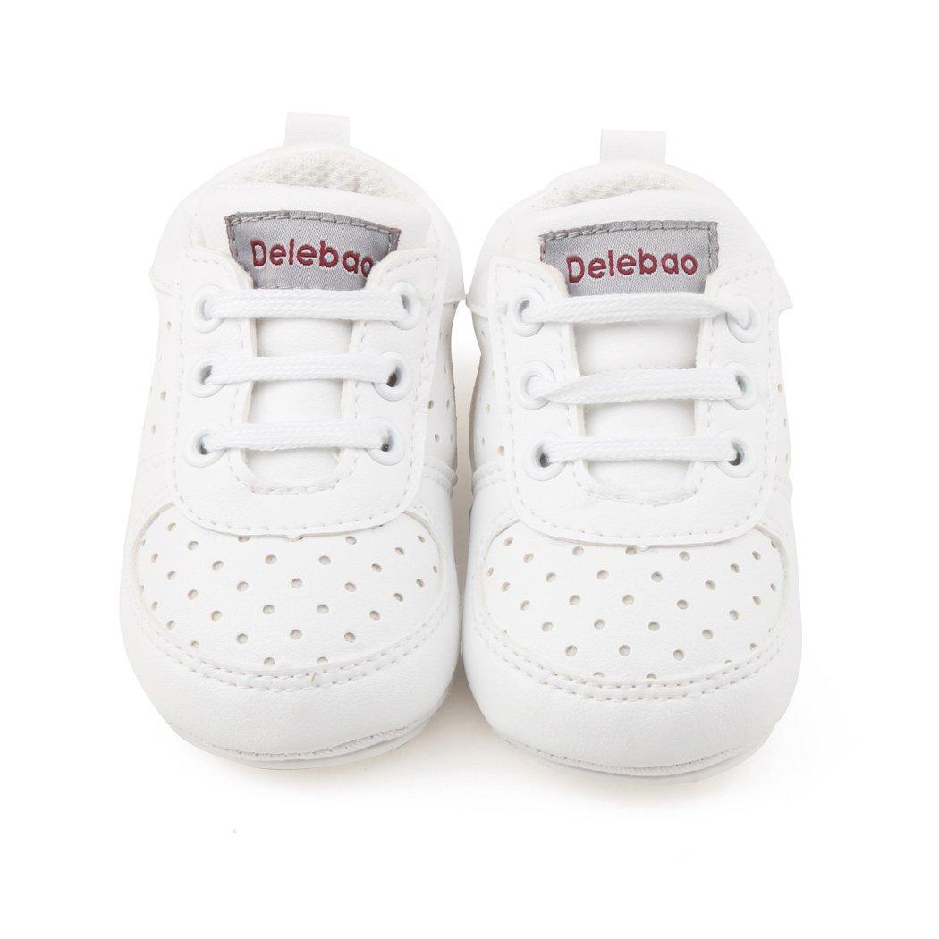 DELEBAO Zapatillas de Ni/ño Zapatos para Beb/é Primeros Pasos Calzado de Bebes Zapato con Cordones y Suela de Goma